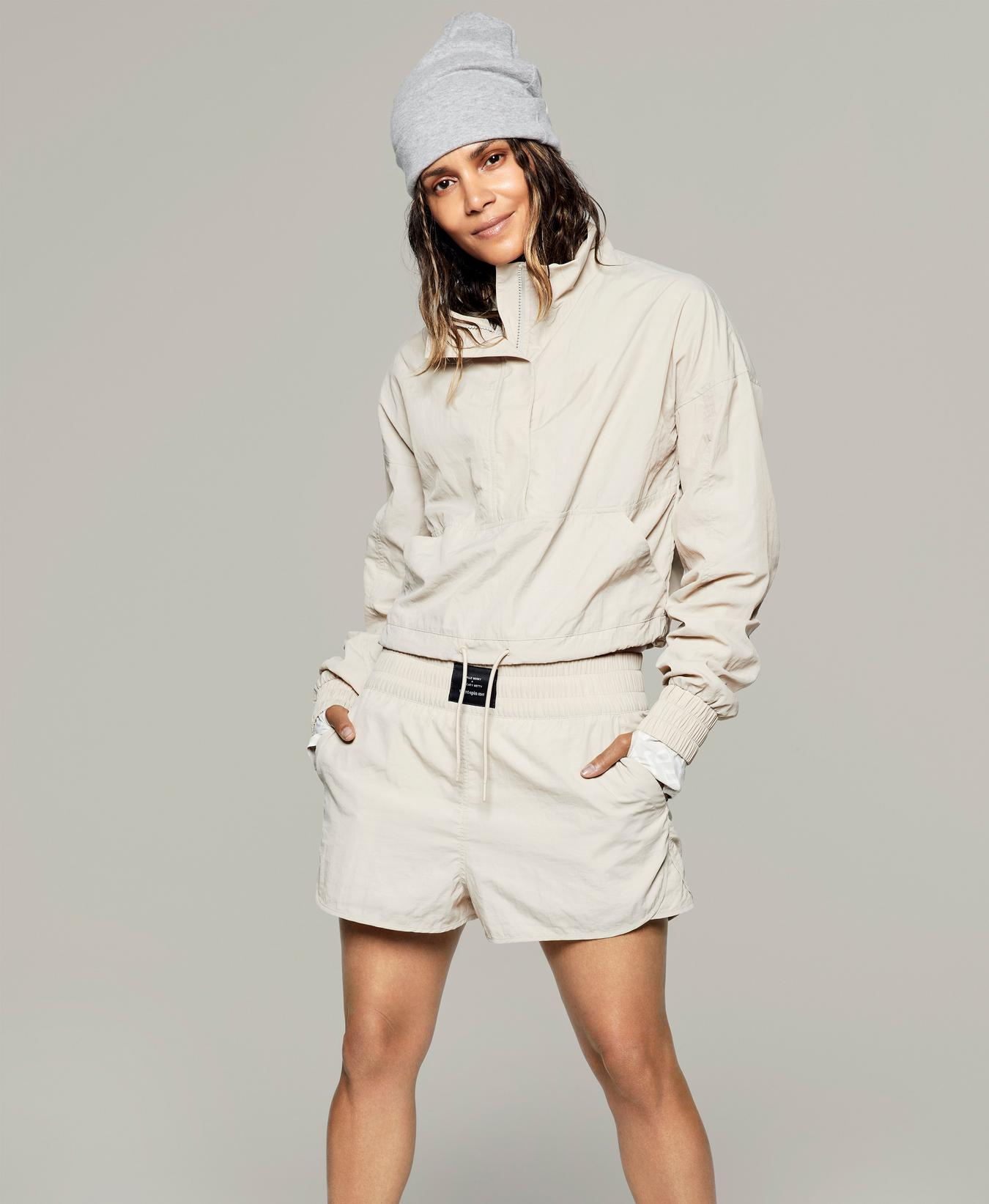 Halle Berry x Sweaty Betty Leticia Woven Track Top Water Resistant Jacket Beige