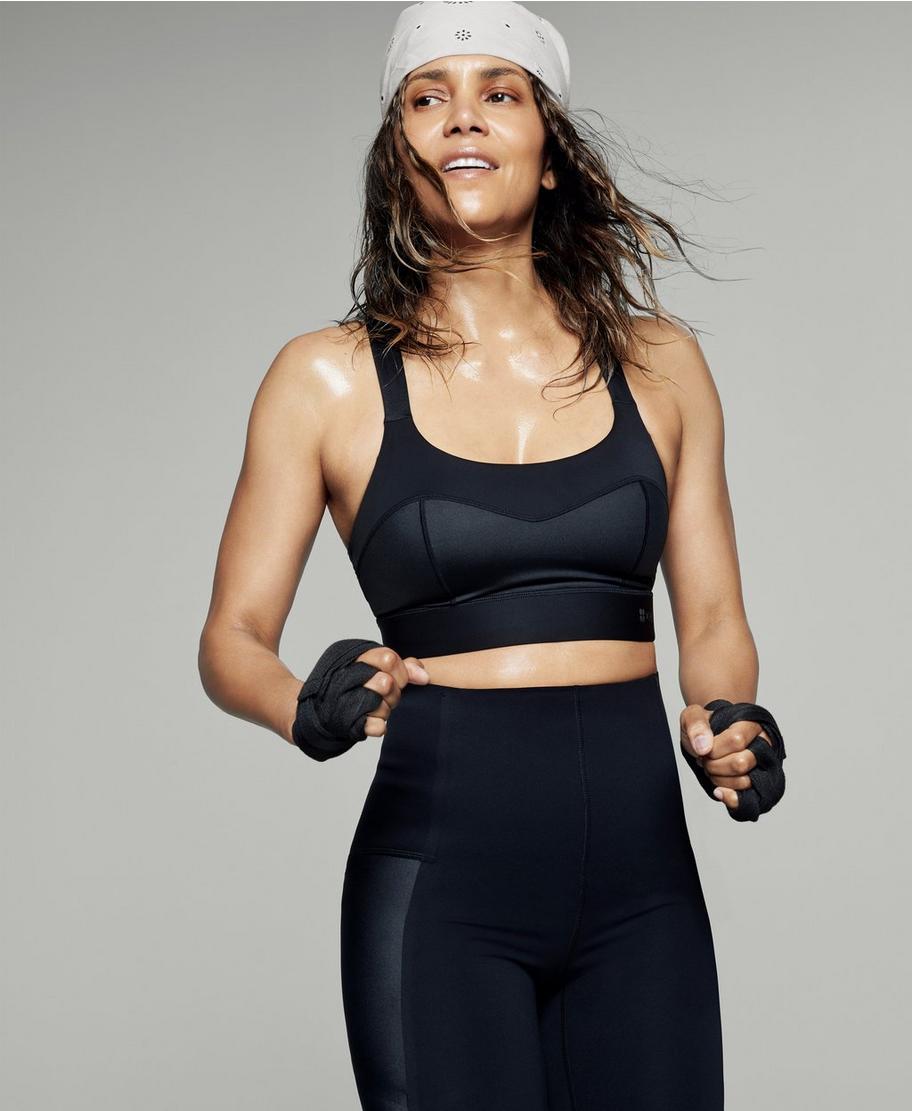 Halle Berry x Sweaty Betty Storm Power Shine Workout Bra Black Breathable Sweat Wicking
