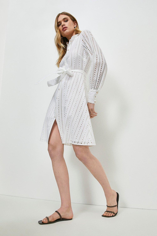 Karen Millen White Cotton Broderie Shirt Dress