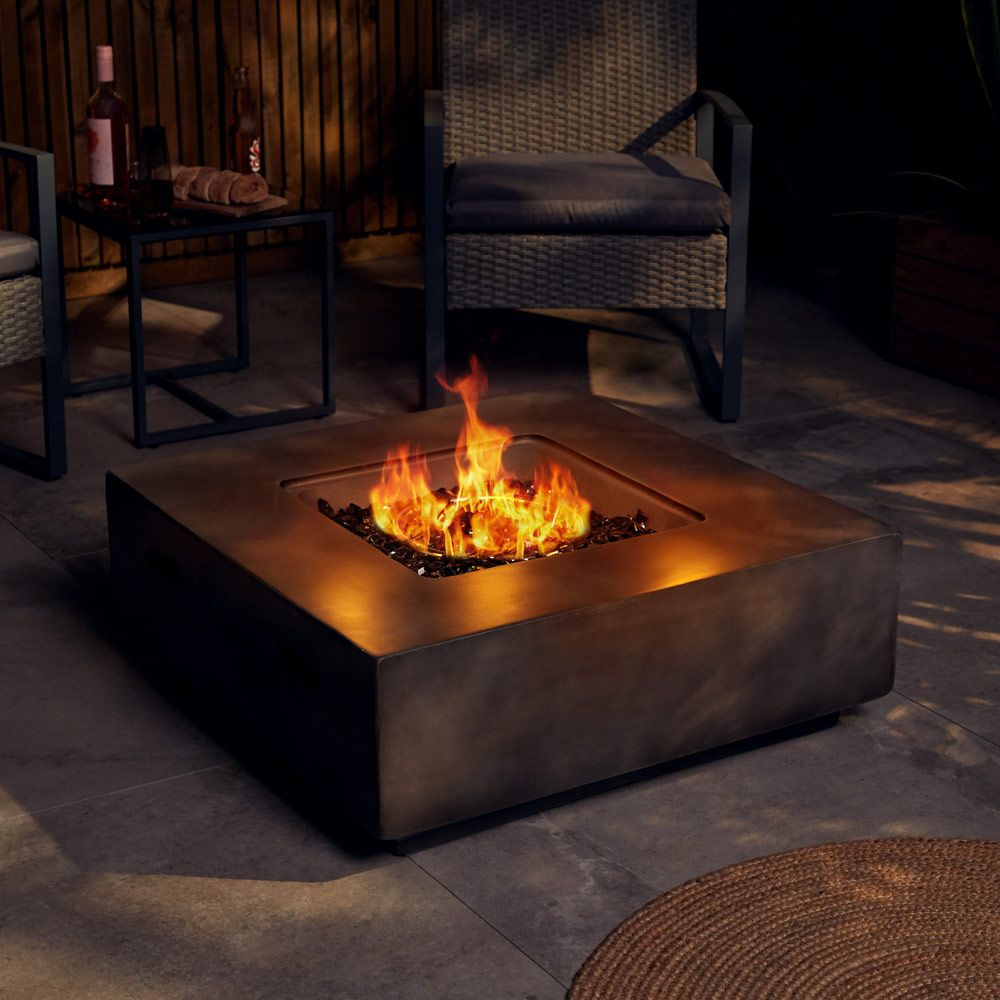 Square Gas Fire Pit Outdoor Heater Electric Ignition