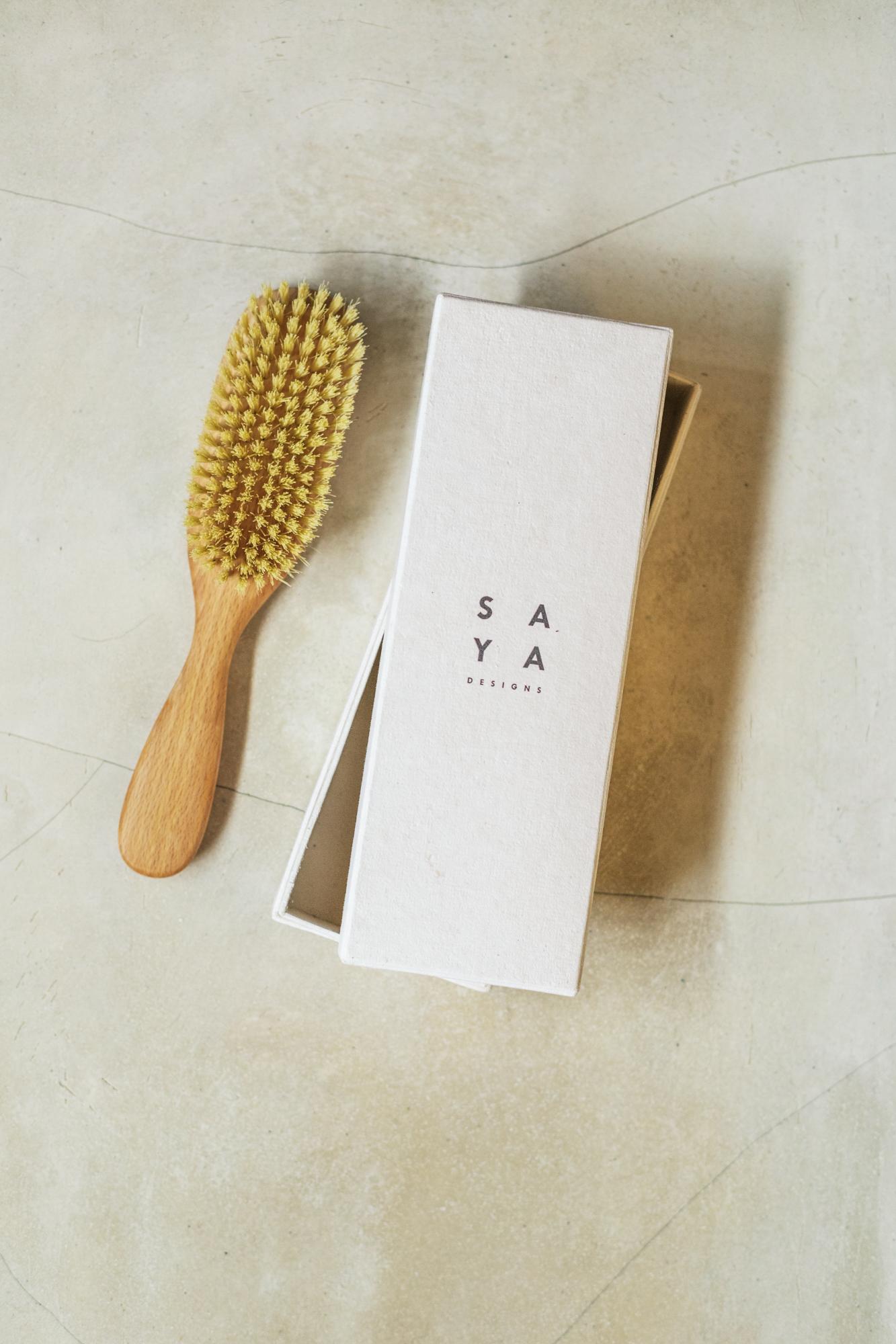 The Vegan Hair Brush SAYA Designs Natural Wooden Hair Brushes