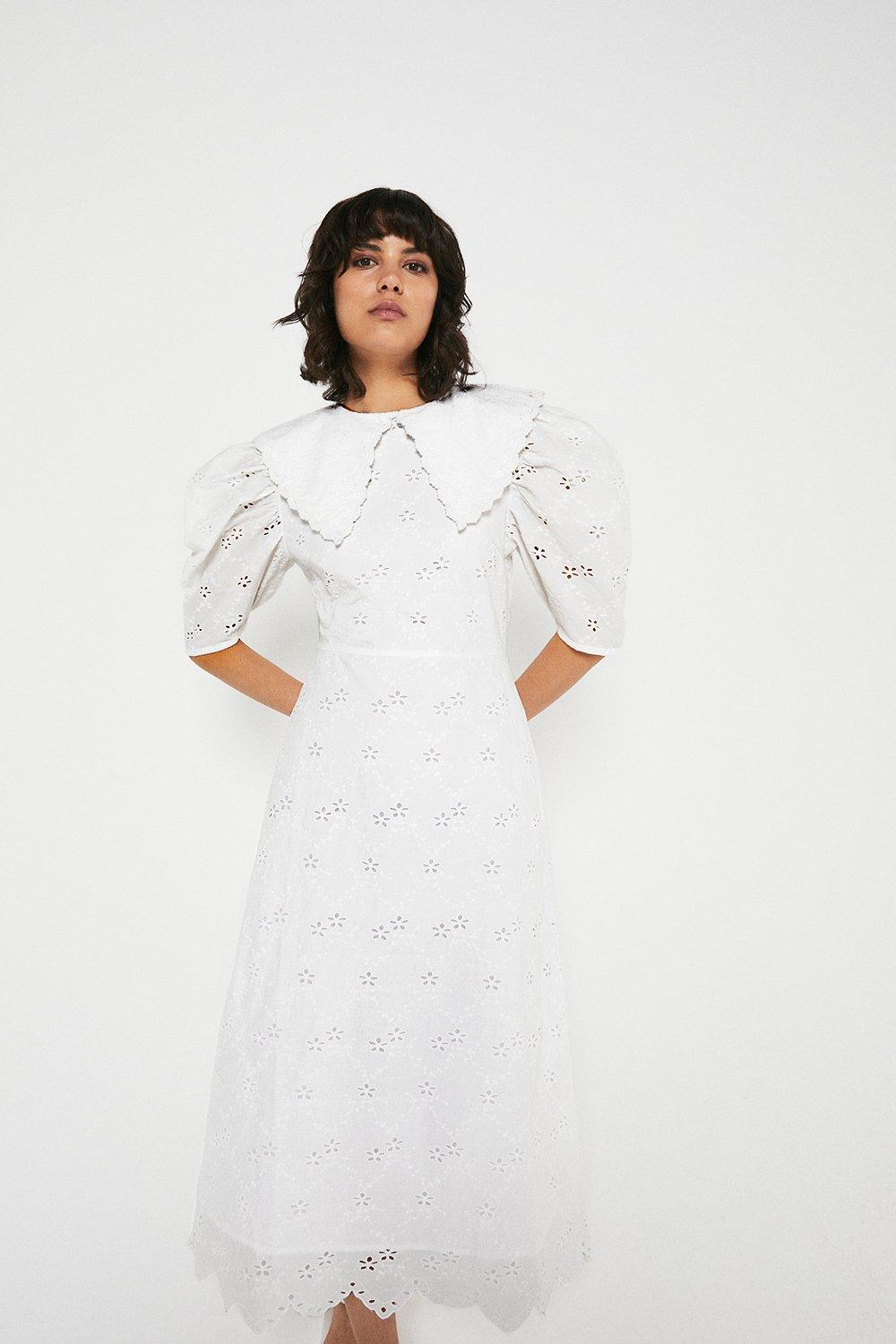 Warehouse Midi Dress In Broderie With Collar White 100% Cotton