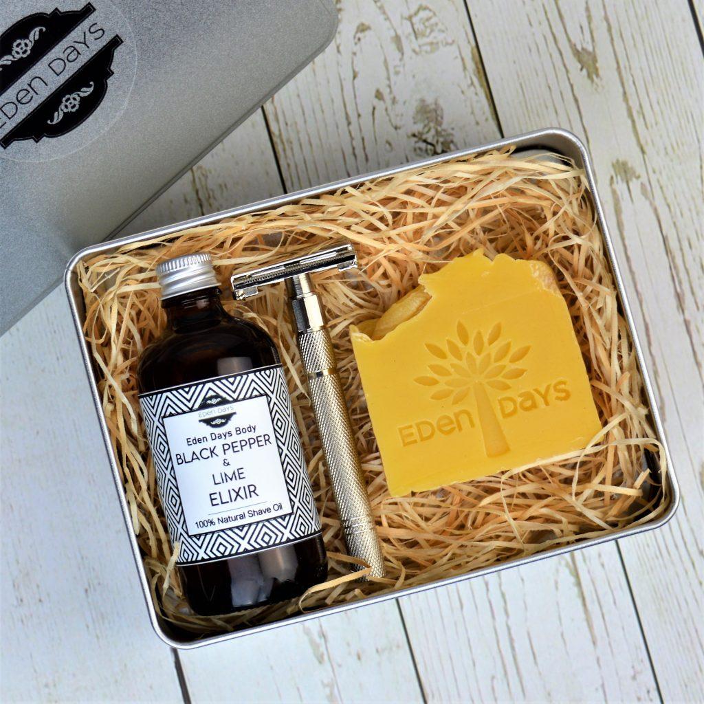 Eden Days Body Luxury Gift Set Black Pepper & Lime Shave Elixir and Body Soap