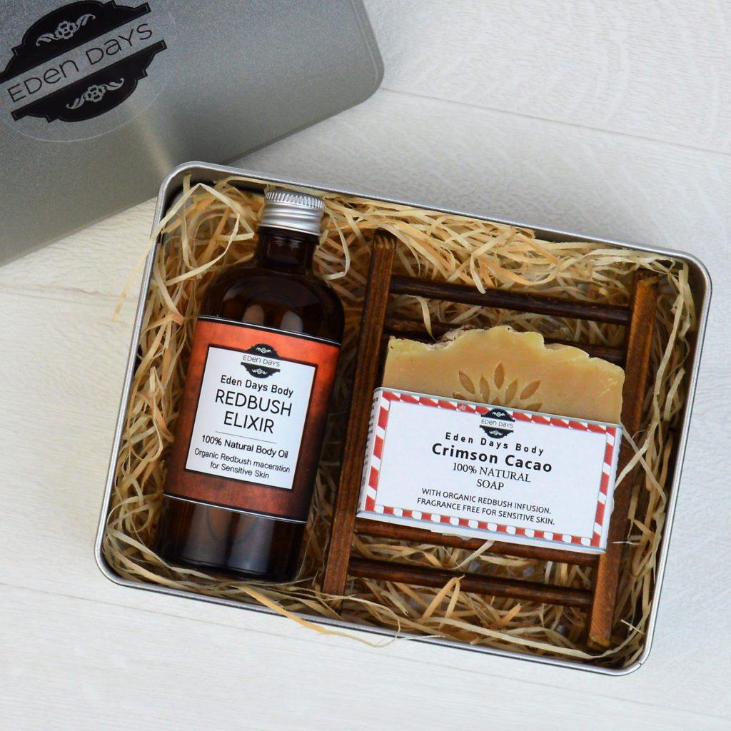 Eden Days Body Redbush Elixir 100% Natural Body Oil Sensitive Skin Crimson Cacao Soap Bar Handmade