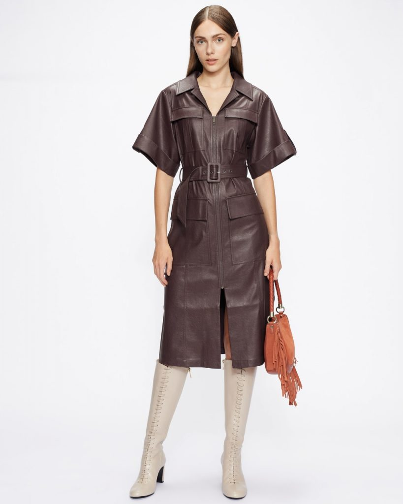 Ted Baker Faux Leather Utility Dress