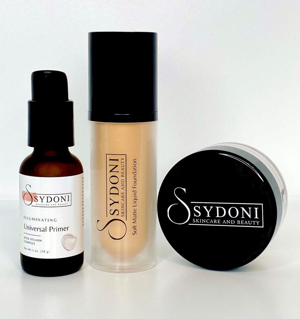 Sydoni Skincare and Beauty Primer, Liquid Foundation, and Pressed Powder