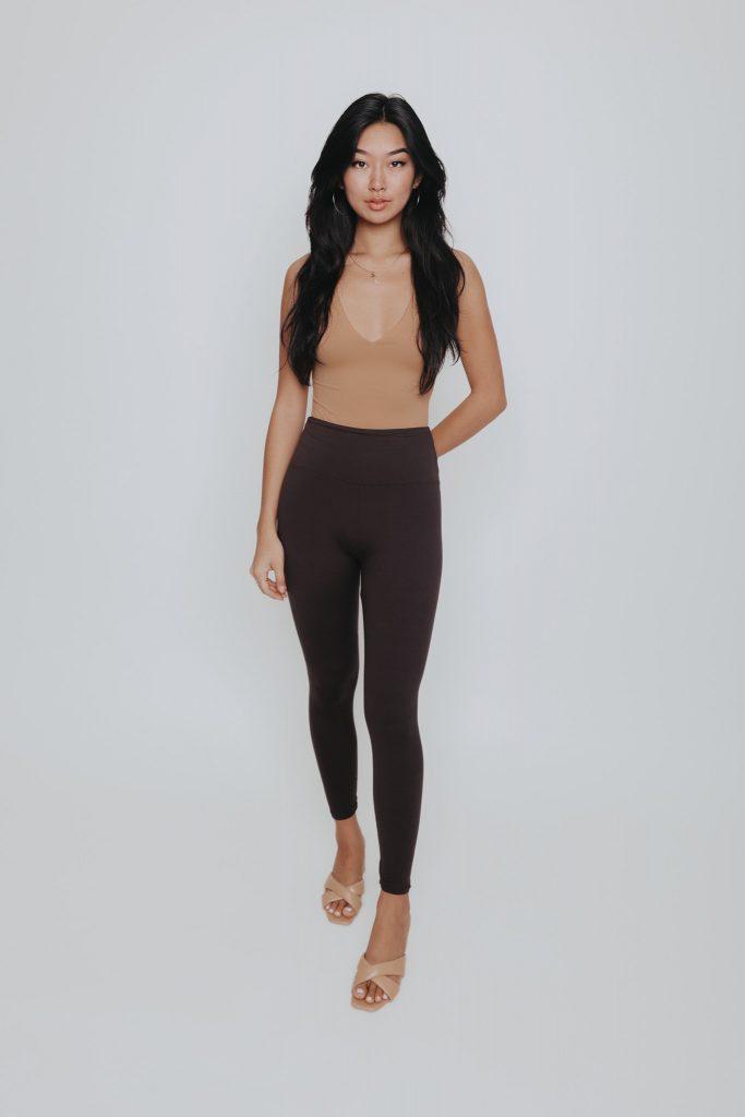 Ann Leggings Brown Comfortable Stretchy Lightweight Loungewear