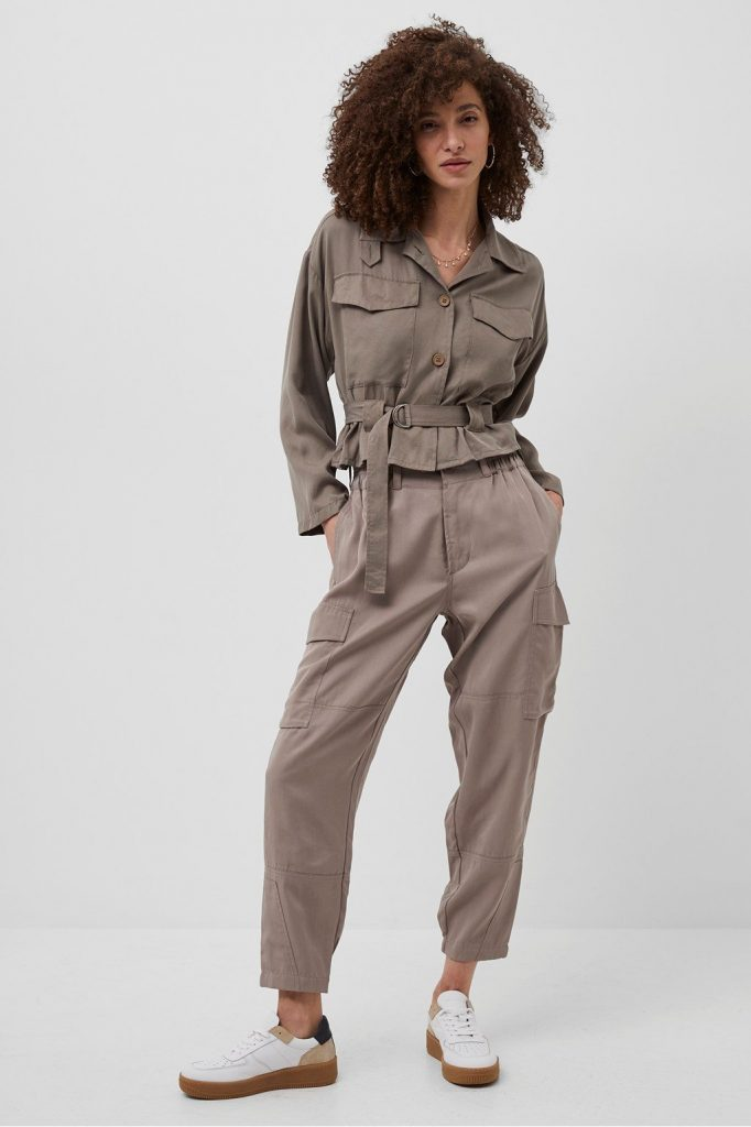 French Connection Slouchy Drape Cargo Trousers Walnut Side Pockets Utility Trend
