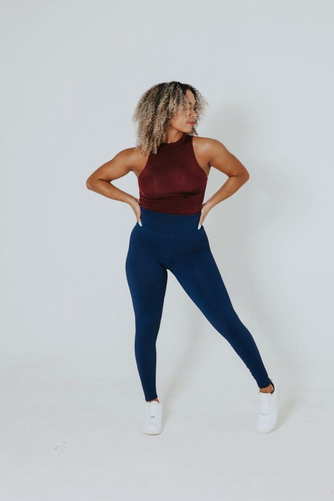 Not Only Pants Ada Textured Leggings Navy Blue