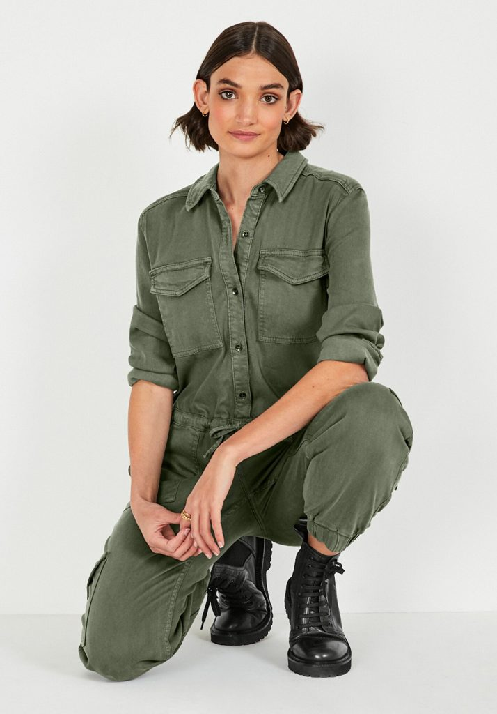 Washed Utility Jumpsuit Khaki Green