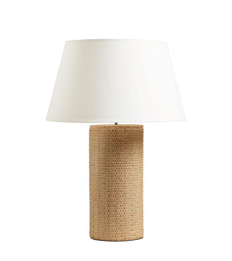 Balabac Column Table Lamp Sand Wood Rattan Luxury Indoor Lighting OKA