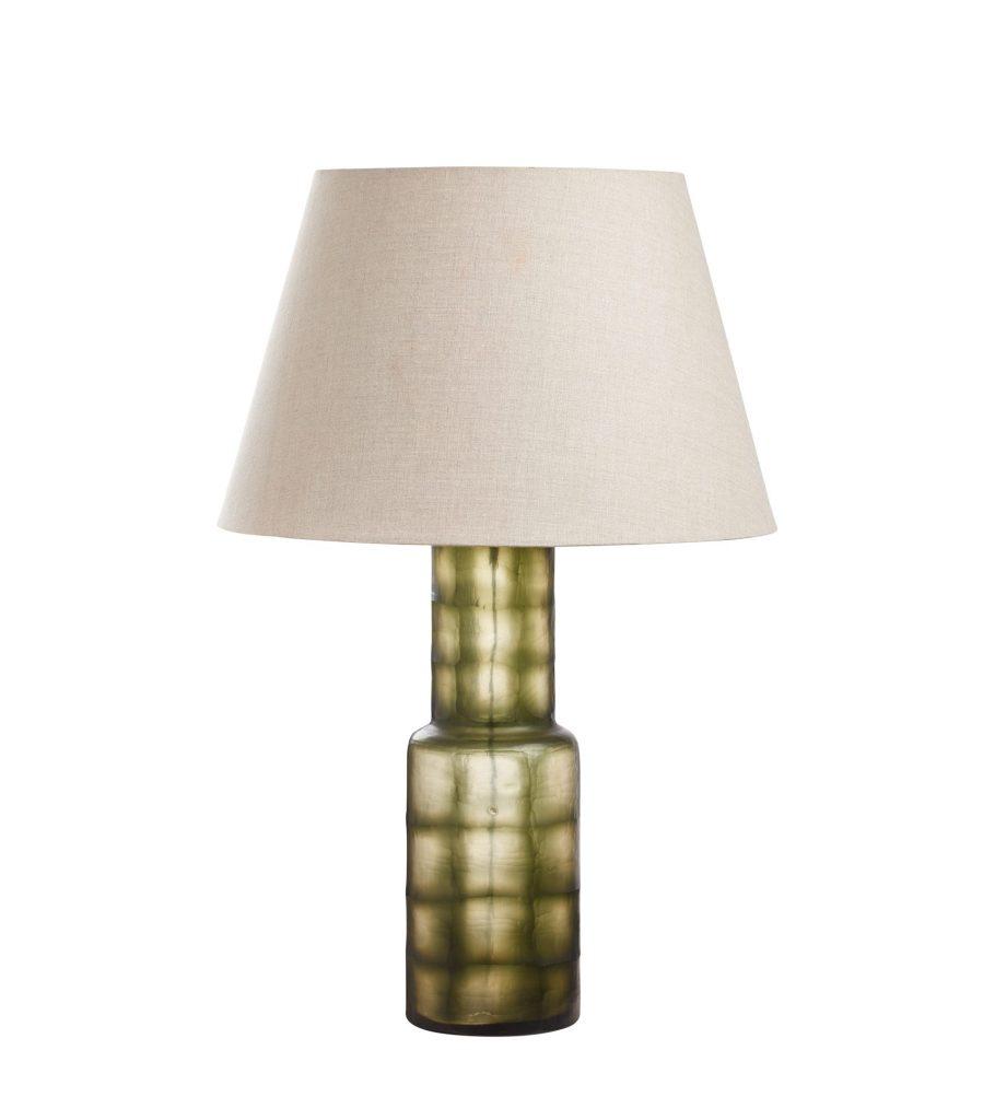 Gourami Table Lamp Seaweed Green Coloured Glass Brass Luxury Indoor Lighting OKA