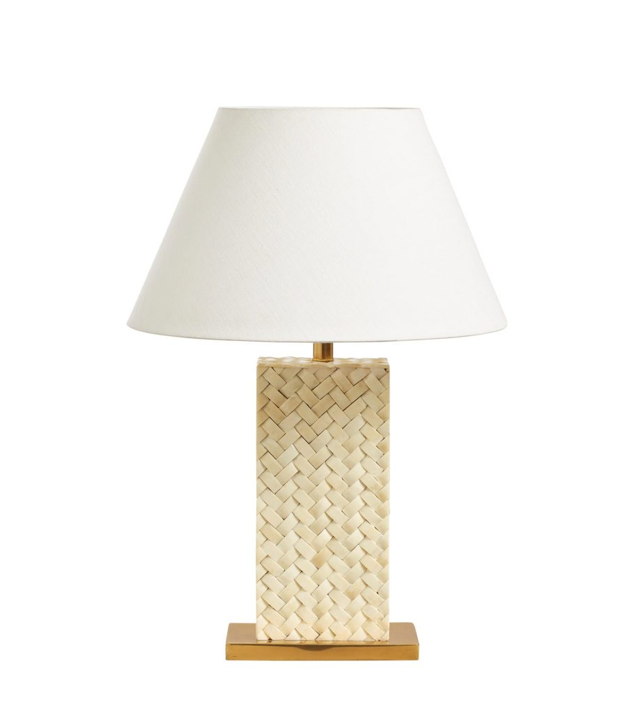 Haddee Bone Weave Table Lamp Ivory Woven Rattan Style OKA