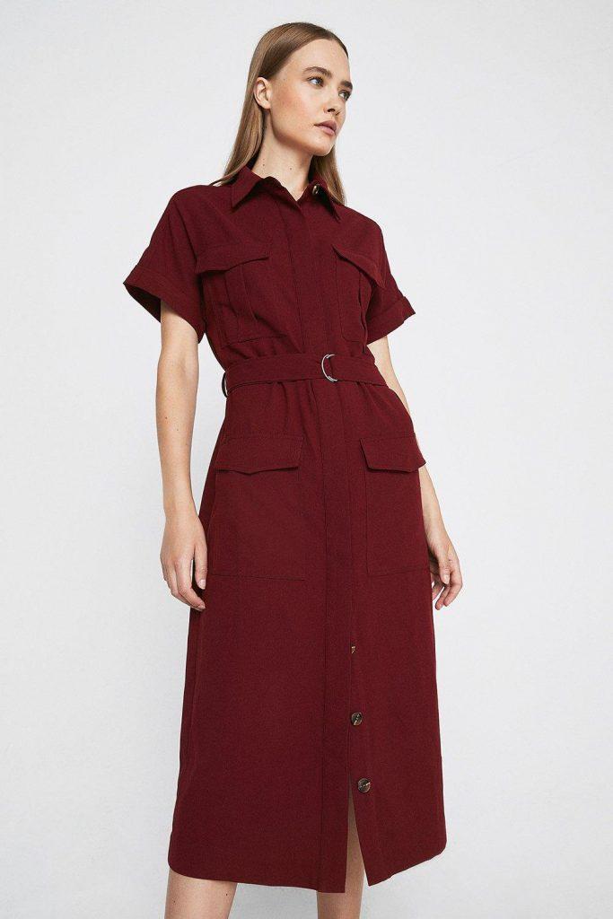 Short Sleeve Utility Shirt Dress Burgundy Red Warehouse